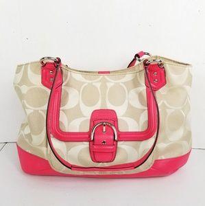 Coach Signature C Hangbag Satchel Pink / Cream